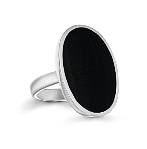 Tuscany Silver Damen-Ring 925 Sterlingsilber Onyx Perlmutt 23 x 16 mm Gr. 54 (17.2) 8