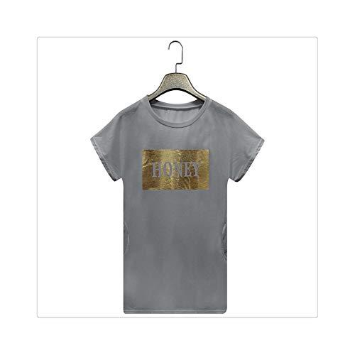 Clothes Vestidos Dress Women Summer Dress Women Summer Letter Long Tops Blouse Ladies Short Sleeve Pocket T-Shirt Dress Gray S