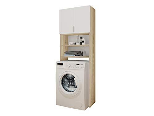 #Mirjan24  Badezimmerschrank für die Waschmaschine Mosa, Waschmaschinenschrank, Badhochschrank, Badschrank, Badregal (Eiche/Weiß)#