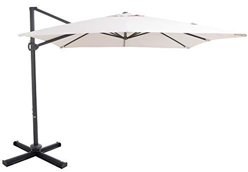 SORARA Roma | Parasol Deporte pour ombrage | Beige | Carré | Mécanisme à manivelle et Dispositif de Rotation 360 | INCL. Couverture et Base croisée