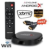 Sumvision Android TV Box Cyclone Android X4 AMLogic Quad Core Android 4.4 XBMC KODI 14.2 Media Streamer Player Smart TV Box for your HDMI HD TV