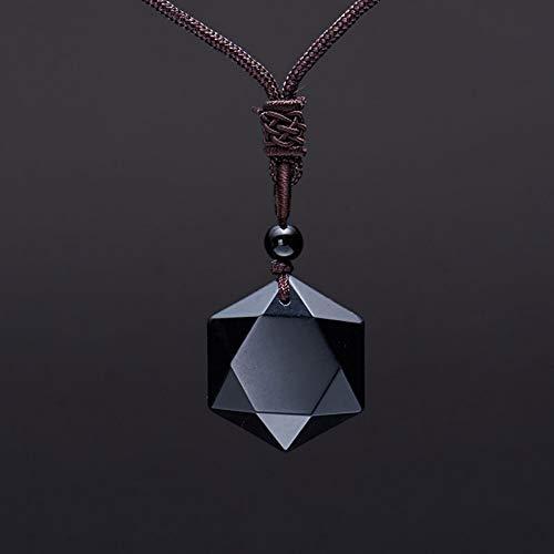 YANOAID Obsidian Anhänger Amulett Six Star Rock Anhänger Halskette Energie Pendel Stein Jade Schmuck Kristall Geschenk Für Männer Frauen - Rock Star Energy