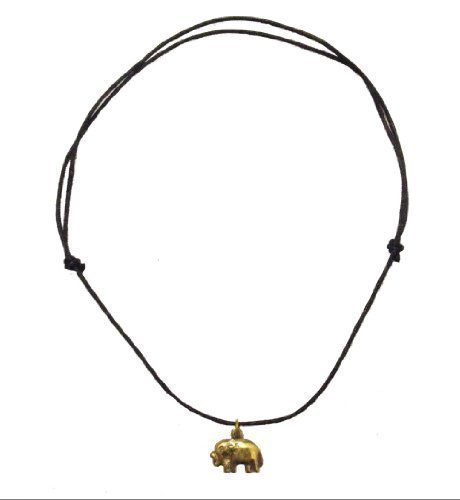 Glückliche Hand Cast Bronze Elephant Halskette auf verstellbaren gewachsten Baumwollkordel . Handgemachte in Kathmandu, Nepal - fairtrade - Anhänger misst 2 cm Durchmesser -