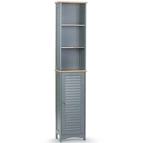 VonHaus Badezimmer Hochschrank | Solider, schmaler Schrank aus Eschenholz | 6 Regalen | Badezimmerregal | Modernes Grau