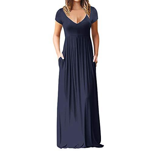 iYmitz Heißer Damen Sommerkleid Elegant Kurzarm V-Ausschnitt Festliches Kleid Langes Solide Kleid Freizeit Kleider Für ()