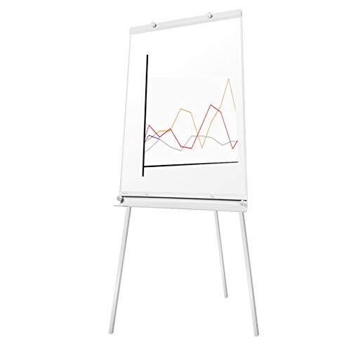 euroharry Flipchart Whiteboard Magnetwand mit Alurahmen Magnetisch Whiteboard und Magnettafel Weiß lackiert WhiteBoard + Ständer Einstellbar drehbar (60x90cm)