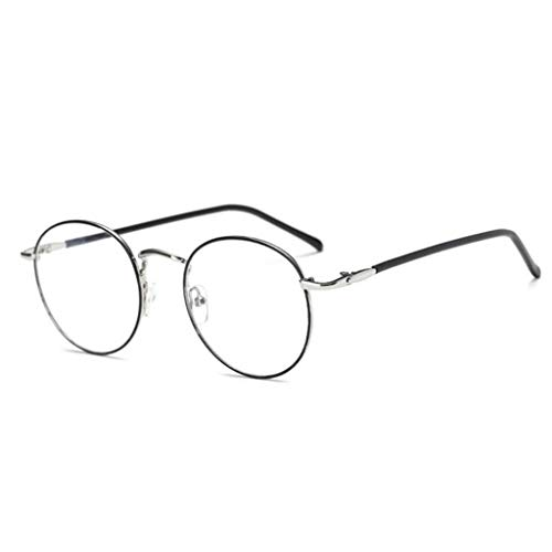Nerd Retro Look Brille Pilotenbrille Vintage Look Klassische Nerdbrille Rund Keyhole Vierziger Und FüNfziger Brille Clear Lens (B) ()