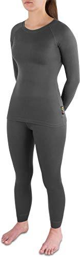 Damen Thermounterwäsche-Set bestehend aus Langarmshirt und Hose mit Quick-Dry-Material in Rippoptik - EXTREM schnell trocknend und wärmend Farbe Anthrazit Größe L