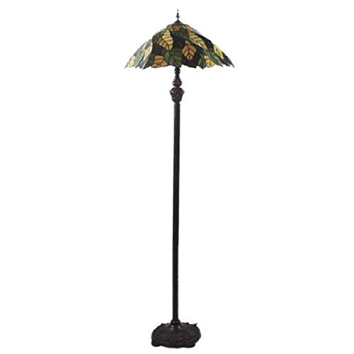 DSHBB Bodenbeleuchte, 20 Zoll Blatt Tiffany-Stehlampe mit Glaslampenschirm, modernes Standing Light for Living Rooms, Bar, Schlafzimmer, E27*2 40W -