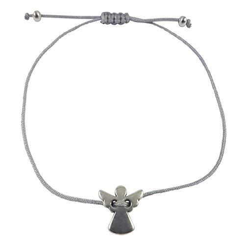Nilian Damen Armband – Silber Herz Armband – Filigranes Frauen Armband - perfekt geeignet als Geschenk – Hochwertiges Textil Armband mit Herzanhänger (Engel grau)