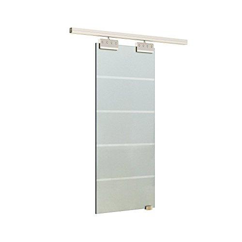 homcom Porta Scorrevole Interna in Vetro Smerigliato e Satinato con Binario e Maniglia per Bagno Cucina Studio 205x 77,5X 0,8cm