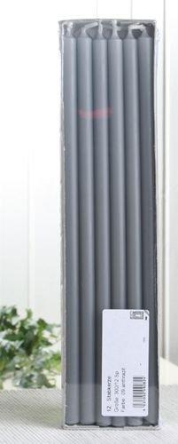 Stabkerzen, 30 x 1,2 cm Ø, 12er-Pack, anthrazit-grau