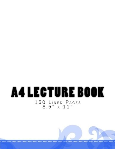 A4 Lecture Book 150 Lined Pages 8.5' x 11': Soft Blue Design