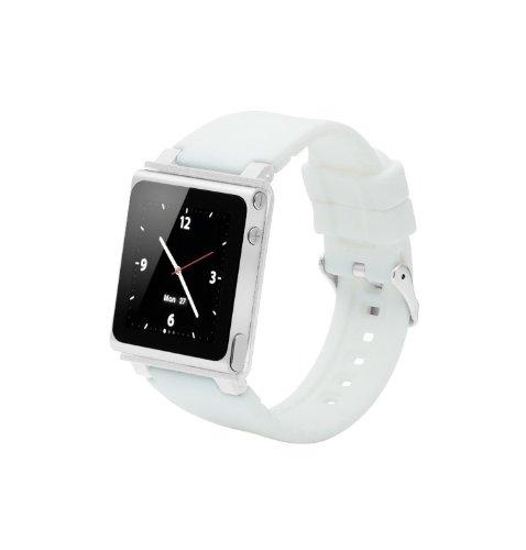 ares Sport Uhrenarmband für Ipod Nano 6.Generation,Aluminiumgehäuse,Silikongürtel,Ipod Nano 6th Watch Band,Handschlaufe für iPod Nano 6G(OEM)(Weiß) ()