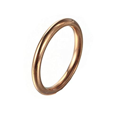 HIJONES Women's Stainless Steel Round Wire 1mm Plain Thin Band Ring Rose Gold Size 7