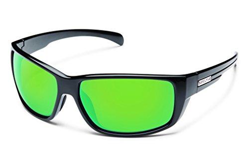 Suncloud Milestone Polarized Sunglass with Polycarbonate Lens, Black Frame/Green Mirror