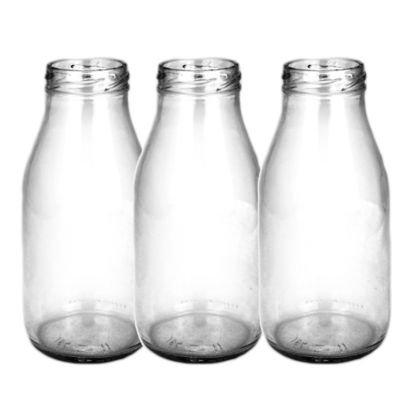 250ml Milchflaschen 3er-Set, inkl. Verschlüsse, für Getränke, als Vase und mehr