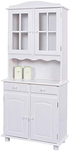 H24living Vitrine Anrichte Esszimmerschrank Küchen-Schrank im Landhaus-Stil Bauern-Schrank aus Massivholz (Weiß, 2 Türen)