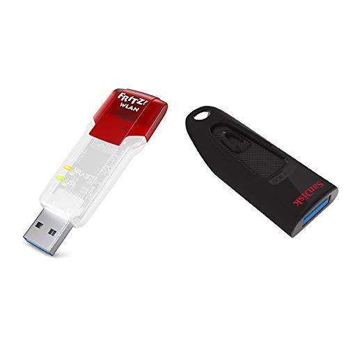 AVM FRITZ!WLAN Stick AC 860 (866 MBit/s (5 GHz), 300 MBit/s, WLAN N, 2,4 GHz, WPA2) deutschsprachige Version & SanDisk Ultra 64GB USB-Flash-Laufwerk USB 3.0 bis zu 100MB/Sek