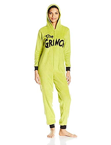 Dr.Seuss Damen Grinch Hoodie Union Suit - Grün - Medium (Hello Kitty Pyjama Kostüm)
