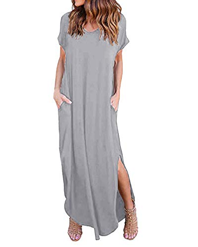 d0dfada5fb2 Kidsform Femme Robe ete Maxi Casual Manche Courte Col V Dress Plage Poche  Tunique Longue