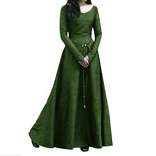 Xmiral Damen Kleid Plus Size Solide Vintage Langarm Verband Lange Partykleider Kostüm für Rollenspiel,Karneval(XL,Grün)