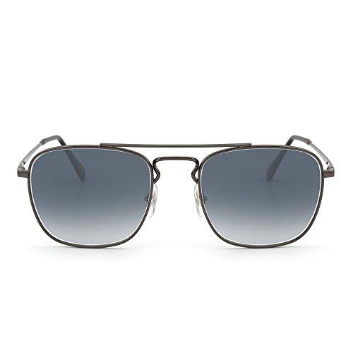 Retro Platz Flieger Sonnenbrille Premium Glas Linse Flach Metall Gläser Damen Herren(Silber/Gradient Grau)