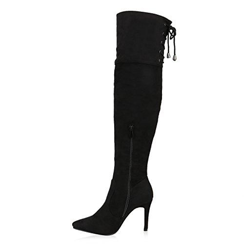 65172c9a98b4ec Damen Stiefel Overknees Velours High Heels Stiletto Boots Schuhe Schwarz ...