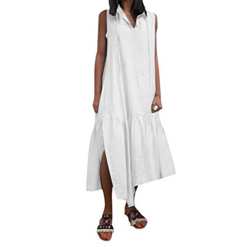 e79cec721779c6 iYmitz Einfarbig Damen Freizeit Kleider V-Ausschnitt Ärmellos Lässig Feste  Krawatte Seitenschlitz Lose Frauen Langes Kleid(Weiß,EU-42/CN-XL)