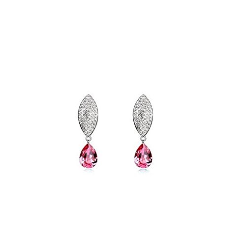 Boucles d'oreilles feuille et goutte cristal swarovski elements plaqué or blanc Rose
