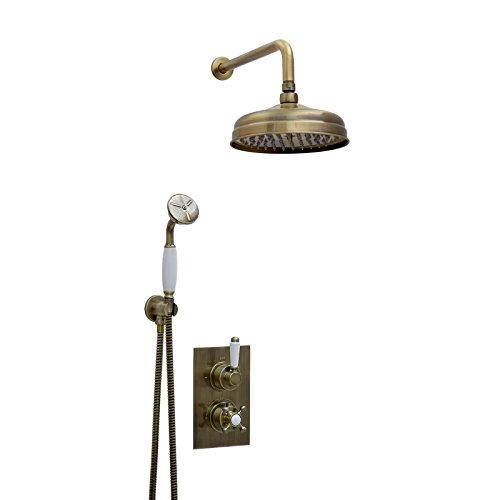 ENKI Unterputz-Duscharmatur Thermostat Kopfbrause 20cm Brause weiß bronzefarbene -