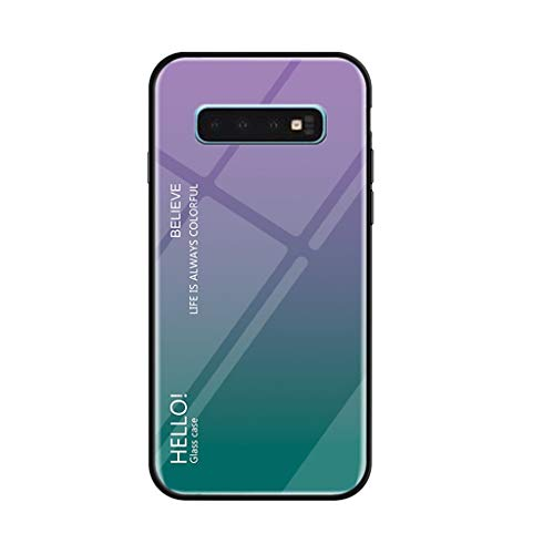 Telefon Seitentasche (Schutzhülle für Samsung Galaxy S10 + 6,4 Zoll/Samsung Galaxy S10 6,1 Zoll, Jamicy® Slim Explosionsgeschützte Glasrückseite Weiche Seitentasche (Samsung GalaxyS10, Lila))