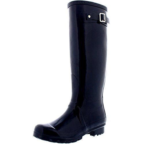 Damen Original Tall Gloss Winter Wasserdicht Regen Gummistiefel Stiefel Marine