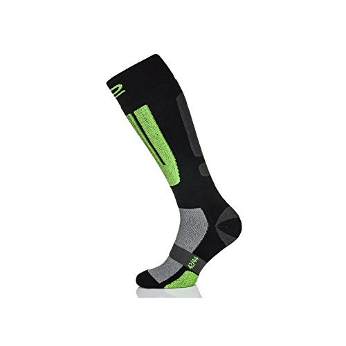 Skisocken Snowboardsocken Modell XS-1 atmungsaktiv und warm Damen Herren Kinder - schwarz-grün, 38-41