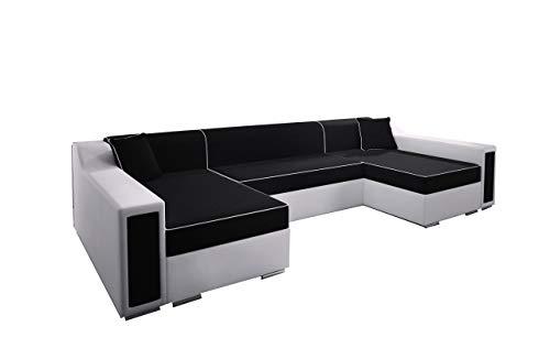 mb-moebel Ecksofa Sofa Eckcouch Couch mit Schlaffunktion und Zwei Bettkasten Ottomane U-Form Schlafsofa Bettsofa Polstergarnitur Horst SUPER (Schwarz + Weiß)