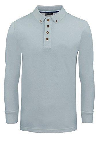 Herren Langarm Polo T-Shirt Brave Soul Neu Lincoln Piquet Baumwolle Kragen Top Mattes Blau