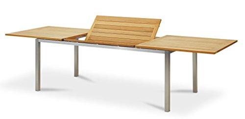 TINGO LIVING | 21239 | IBIZA | Gartentisch | 200(300)x95/75cm | Teak/Edelstahl | ausziehbar