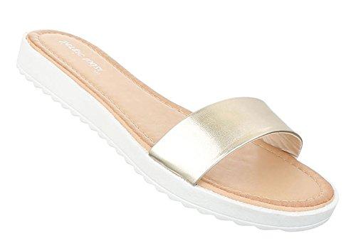 Damen Sandalen Schuhe Strandschuhe Sommerschuhe Pantoletten Modell NR1 Gold