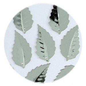 Pailletten Blatt geprägt 12 x 18 mm ca. 33 Stück Silber -