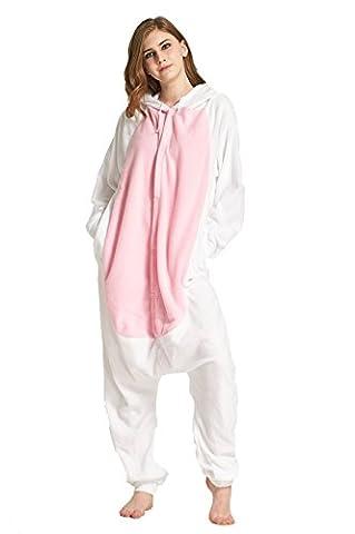 Honeystore Unisex Häschen Kostüm Erwachsene Tier Jumpsuits Onesie Pyjamas Nachthemd Nachtwäsche Cosplay Overall Hausanzug Fastnachtskostüm Karnevalskostüme Faschingskostüm Kapuzenkostüm (Einfache Gruppe Kostüm-ideen Für Erwachsene)