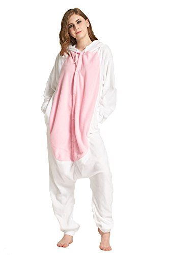Honeystore Unisex Häschen Kostüm Erwachsene Tier Jumpsuits Onesie Pyjamas Nachthemd Nachtwäsche Cosplay Overall Hausanzug Fastnachtskostüm Karnevalskostüme Faschingskostüm Kapuzenkostüm S