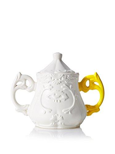 SELETTI Sucrier avec Anse de Couleur de, Porcelaine, Blanc/Jaune, 13 cm (diamètre) et 15 cm (Haut)