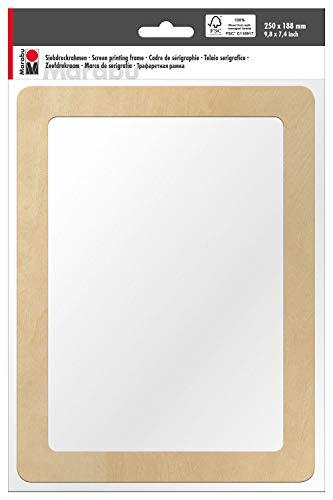 Marabu 0173000000060 - Siebdruckrahmen aus Holz, ideal für Textildruck mit wasserbasierten Druckfarben, geeignet für Drucke auf hellen und dunklen Textilien, ca. 25 x 18,8 x 0,5 cm -