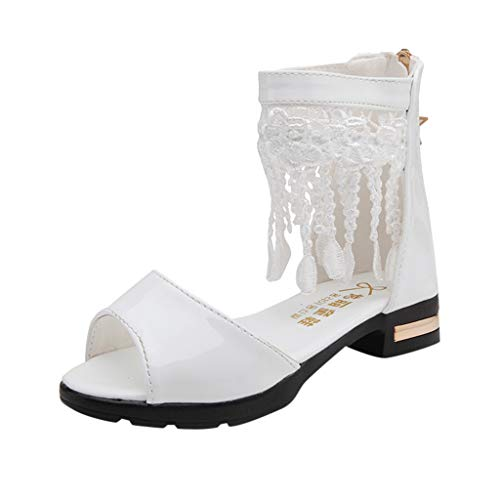 Jaysis Mädchen Fringe Pure Zip Tanzschuhe Prinzessin Schuhe Kostüm Ballerina Ballerina Flache Sandalen Festliche Mädchenschuhe Taufschuhe Bequem - Les Indestructibles Kostüm