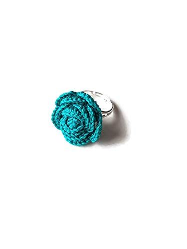 Teal Mode (Smaragdgrün teal stieg häkeln Ring Geschenk für ihren handgemachte Blume Geburtstag)