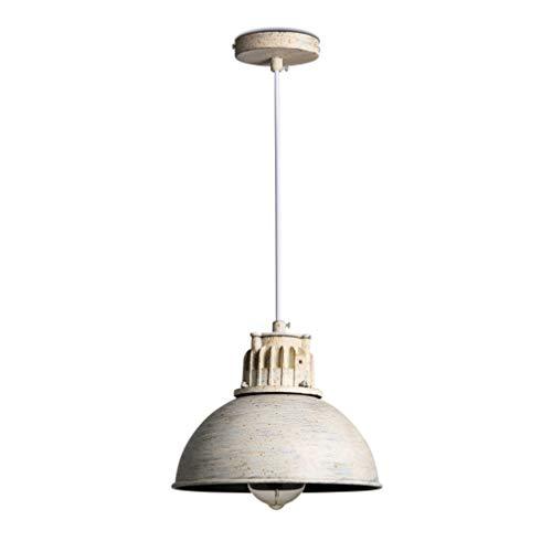 Lámpara colgante industrial vintage Lámpara colgante blanca rústica Pantalla de metal Diseño de arte Lámpara colgante Altura Ajustable Araña para cocina Comedor Mesa de comedor E27 Max.40W
