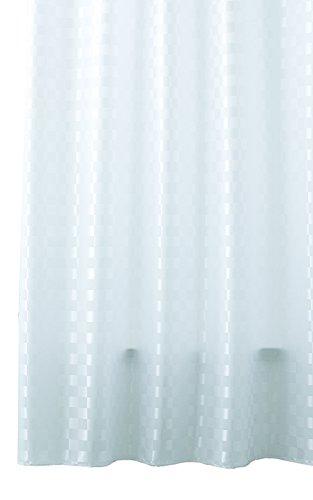 Duschvorhang Textil waschbar mit Ringen QUADRETTO weiß, blickdicht mit Muster kariert, Größe: ca. 120x200 cm
