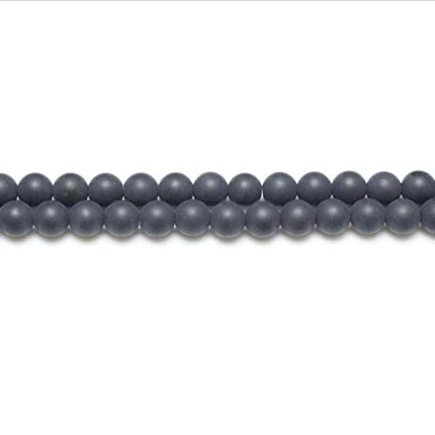 Strand Of 44+ Black Onyx 8mm Frosted Round Beads - (GS5624-3) - Charming Beads
