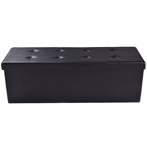 Sitzbox Sitzhocker Sitzwürfel Sitzkasten Sitztruhe Aufbewahrungsbox Leder Truhe Klapphocker Ottomane Fußbank Faltbar Zusammenklappbar 114 x 38 x 38cm (schwarz)