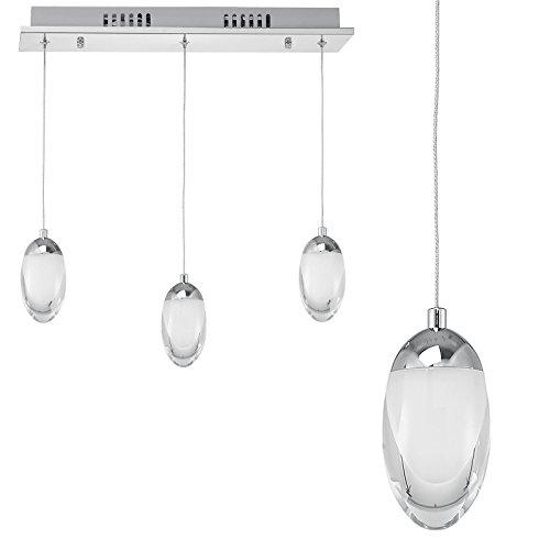 SSITG 1x Hängelampe Hängeleuchte LED Design Hängeleuchte 3-flammig Lampe Chrom Edelstahl Oval Glas Weiß